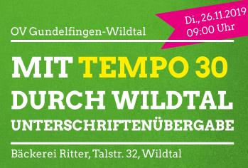 Unterschriftenübergabe: Mit Tempo 30 durch Wildtal