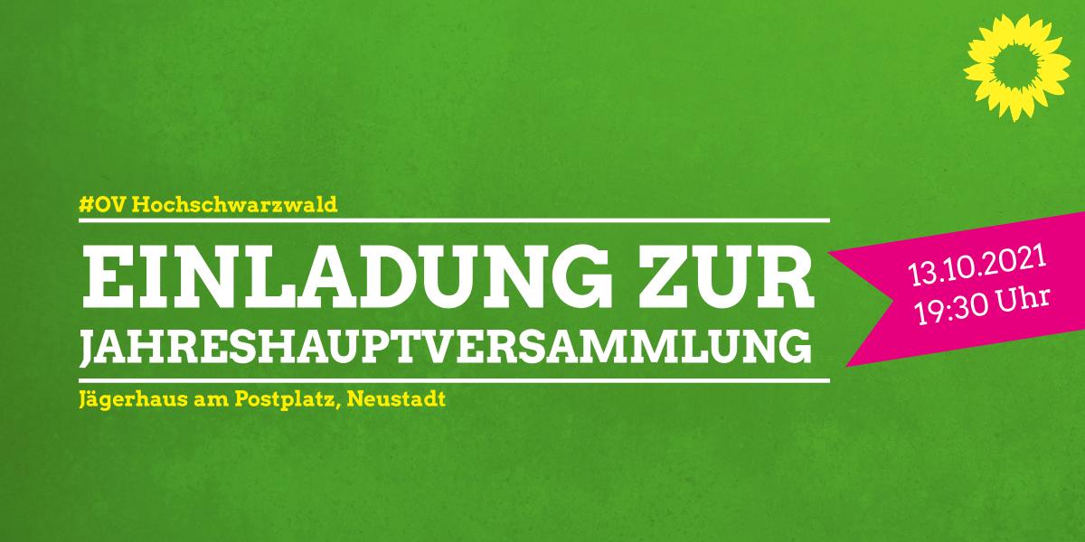 Einladung zur Jahreshauptversammlung des OV Hochschwarzwald