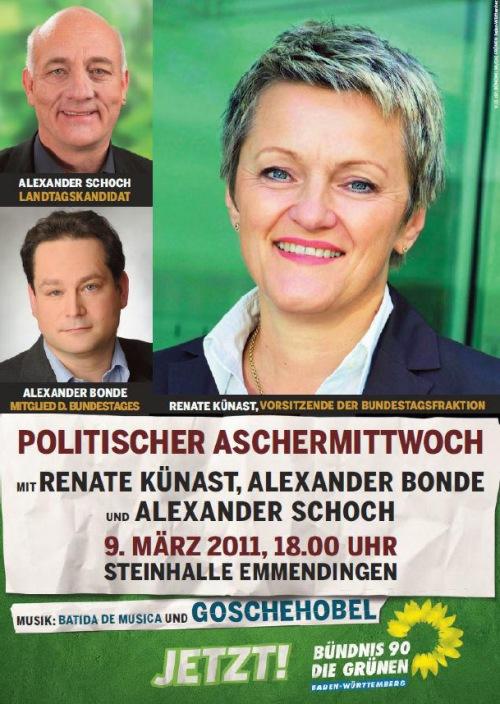 Politischer Aschermittwoch am 9.3.2011 ab 18.00 Uhr mit Künast, Bonde, Schoch in der Steintorhalle in Emmendingen